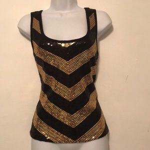 Small P Bisou Bisou Black & Gold Sequined Tank Top